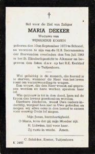 bidprentje Maria Dekker