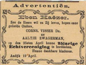 C Visser A Zwagerman 25 jr getrouwd advertentie 1893