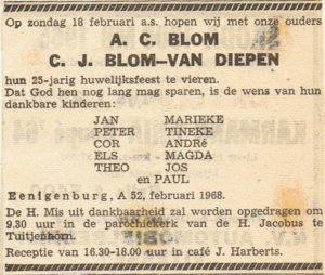 historie eenigenburg advertentie Arie Blom- van Diepen  25 jaar getr