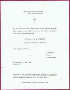 rouwcirculaire Cornelia Slijkerman Wiering