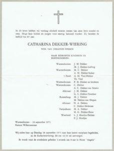rouwcirculaire Dekker Wiering 1971