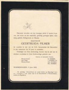 rouwcirculaire Geertuida Filmer x Klaas Kossen 1932 bidpr no 8