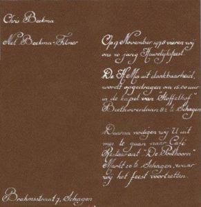 trouwkaart en 40 jaar getrouwd Chris en Nel Beekma 2