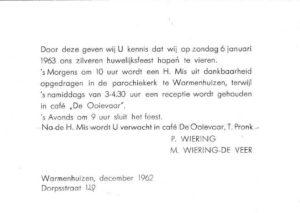 uitnodiging Pieter Wiering -de Veer 1963 25 jr getrouwd