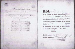folio uit het register waar de huwelijken werden geregistreerd
