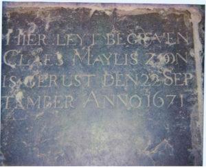 grafsteen Cleas Maylis 1671 kerk Eenigenburg detail