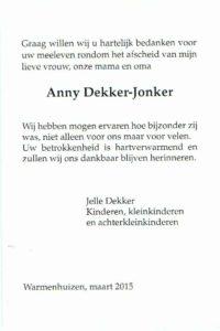 dankbetuiging Anny Dekker-Jonker