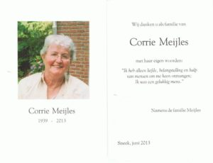 dankbetuiging Corrie Meijles
