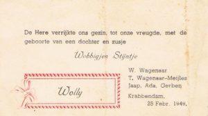 geboortekaartje Wolly Wagenaar