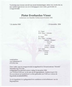 rouw Piet Visser