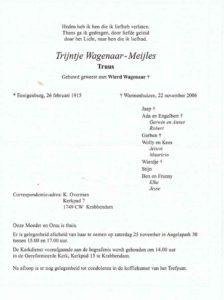 rouwcirculaire Truus Wagenaar- Meijles