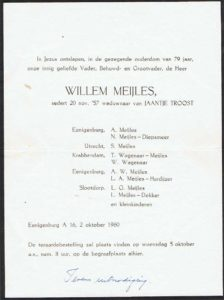 rouwcirculaire Willem Meijles